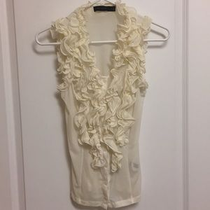 The Limited off white mesh ruffle tank size XS